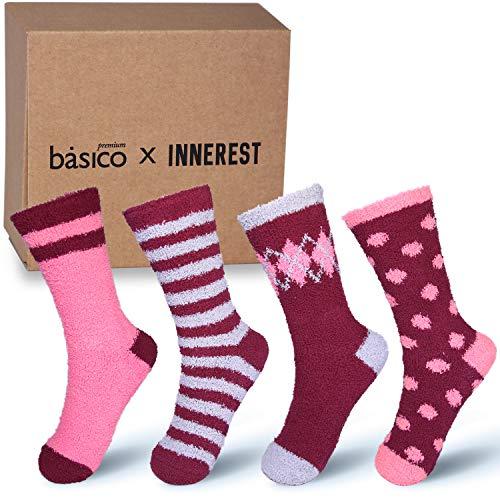 4fa6114034efd Basico -Valentine's Day Gift - Soft Warm Microfiber Fuzzy Winter Socks Crew  6 Pairs (
