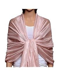 Womens Large Soft Silky Bridal Evening Wedding Party Wrap Scarf Shawl Light Pink