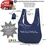 EcoJeannie Super-Strong Ripstop Nylon Foldable Reusable Bag (Navy) Tote Grocery Shopping Bag with built-in Pouch (100% Money Back Guarantee)