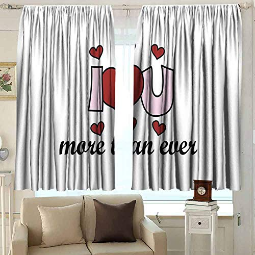 XXANS Doorway Curtain,I Love You More,Insulated with Curtains for Bedroom,W72x63L Inches Ruby Baby Pink Black