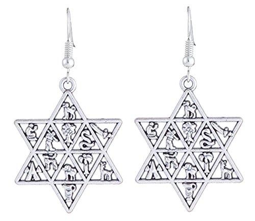 (Women Jewelry 12 Tribes of Israel Ethnic Jewish Star Of David Drop Earrings)