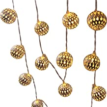 """Glowseen Battery Operated Silver Moroccan Orb LED Fairy Lights with 20 Warm White Led Balls, Ambiance String Lighting for Indoor and Outdoor Use (6.5M/21ft 20 Silver iron balls Diameter: 1.6 """" /4CM ) - Warm White"""