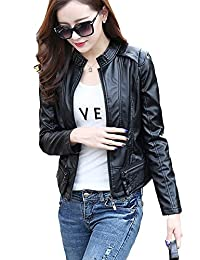 Kufv®Womens Motercycle Short Design Slim Fit PU Leather Casual Jacket Coats