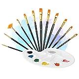 KIKN 12 Artist Paint Brushes, High-End Flat Nylon Hairbrush Handle Watercolor Oil Painting Set Artist Watercolor Painting Acrylic Oil Painting, 1 Palette,Black