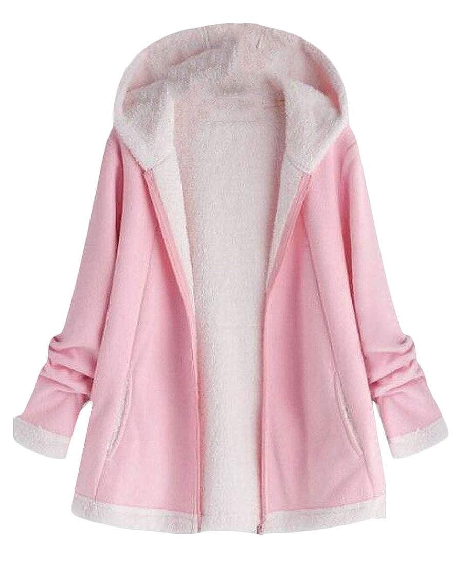WSPLYSPJY Womens Plus Size Winter Warm Casual Loose Fleece Parka Jacket