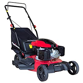 "PowerSmart DB8621P 3-in-1 159cc Gas Push Mower, 21"", Red, Black 77 Easy pull starting 3-in-1 bag, side discharge and mulching capability allows you to spread grass clippings to the side, returning key nutrients to your lawn so your grass can grow healthy and thick Large rear mounted 18 gal. Container with easy release"