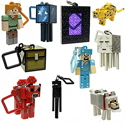 10PCS/Lot Minecraft Micro World 2 Hanger Creeper Action Figure Toys Keychain Pendants 3D Minecraft Model Games Collection Toy