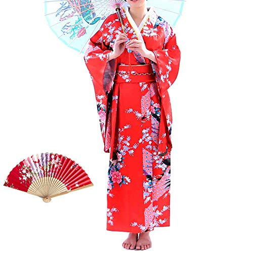 - Women's Kimono Costume Adult Japanese Asian Top Dress Robe Sash Belt Fan Set Outfit (Red)