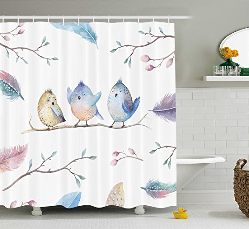 Ambesonne Animal Shower Curtain, Hand Drawn Birds Sitting on Branch Cartoon in Boho Style Watercolors Leaves Feathers, Fabric Bathroom Decor Set with Hooks, 84 Inches Extra Long, Multicolor (Bird Sitting)