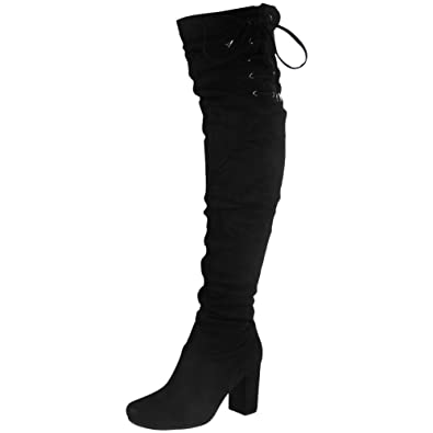 Womens Ladies Thigh High Over The Knee Long Lace Up Stretchy Boots Shoes  Size 3