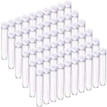 DEPEPE 60 Pcs 13x75mm Clear Mini Plastic Test Tubes with Caps (6ml), for Scientific Experiments, Party, Powders Spices Beads Storage Containers