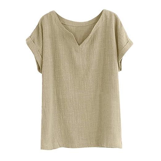 41479425b67 Sunhusing Women's Solid Color Cotton Linen Loose Short-Sleeve V-Neck T-Shirt