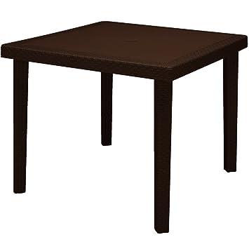 High Quality Tisch Tische Von Garten Für Außen Haus Polypropylen Stil Rattan 90 X 90 Cm  Farbe Moka