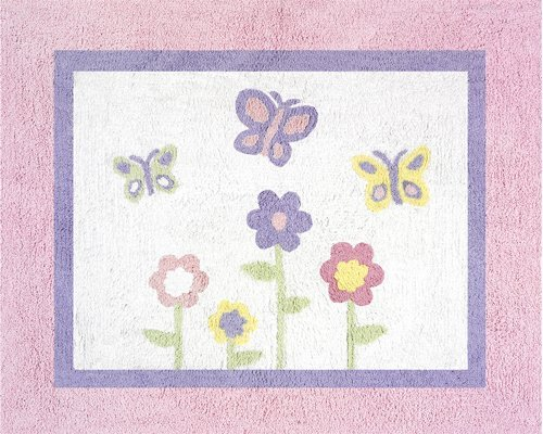 Pink and Purple Butterfly Accent Floor Rug by Sweet Jojo Designs (Pink Purple Butterflies)