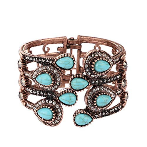 Lindsie-Box - New Retro Green Stone Wide Statement Bangle Women Punk Water Drop Vintage Open Bracelet Fashion rhinestone Jewelry