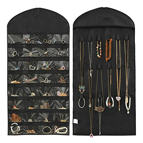 hippih-32-pockets-18-hook-and-loops-jewelry-scroll-closet-hanging-non-woven-organizer-holderblack