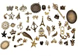ALL in ONE Mixed Antique Bronze Alloy Pendants Beads Charms Chains Connectors Jewelry Findings : Animal, Tree, Flower, Star, Love, Crown, Key, Lock, Cross, Angel, Wing (100pcs, Antique Bronze)