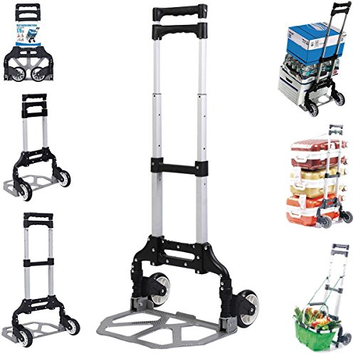170 Lbs Cart Folding Dolly Push Truck Hand Collapsible Trolley Luggage Aluminium by Giantex (Image #2)