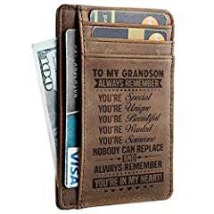 Get your GRANDSON something special!        Also make a Great Birthday, Anniversary Gift.       The message is laser engraved on the inside of the wallet so it will last forever.       This wallet will make the perfect gift for your GR...