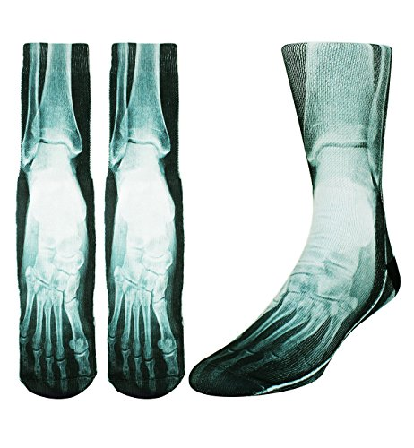 Zmart Men's Crazy X-Ray Foot Fun Athletic Mismatch Sports Crew Cotton Socks Color: D2 ,9- -