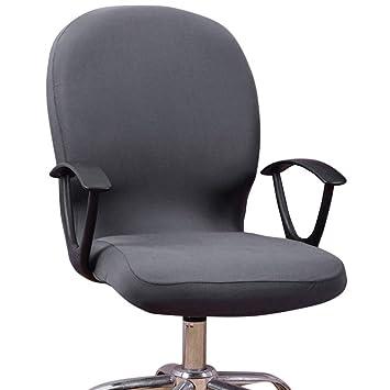Dightyoho Funda para Silla de Oficina Elástica Universal, Cubierta de Silla de Escritorio de Ordenador Extraíble Lavable, Negro (Gris)