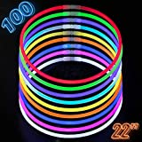 Glow Sticks Bulk Party Supplies - 100 Light Stick Necklaces - Extra Bright Glow In The Dark Party Favors - 22'' Inch Necklace Strong 6mm Thick - 9 Vibrant Neon Colors - Stuffers for Kids - Mix