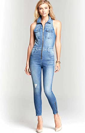 b7edd5c6d931 Amazon.com  GUESS Women s Cara Sleeveless Denim Jumpsuit 10 Wayfare ...