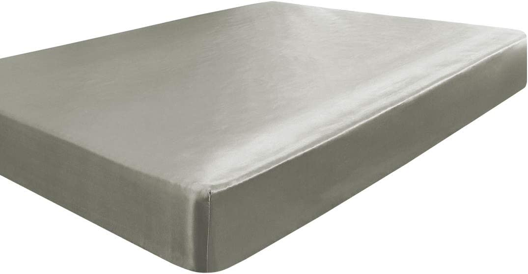 YOMIMAX Luxury Soft Satin Silky Fitted Sheet Ultra Grey Fitted Sheet Full