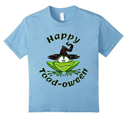 Oween Costumes (Kids Happy Toad-oween Funny Frog Lovers Halloween T-Shirt 8 Baby Blue)