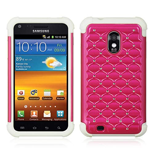 Insten Dual Layer [Shock Absorbing] Protection Hybrid Rubberized Hard PC/Silicone Case Cover with Diamond Compatible Samsung Galaxy S2 Epic 4G Touch D710 Sprint, Hot Pink/White