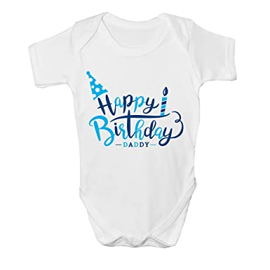 Happy Birthday Daddy Boys Kids Present Cute Baby Grow Body Suit Vest New Gift 0