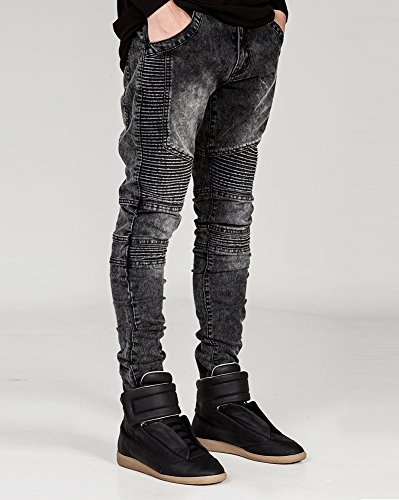 Ultime Grigio Moda Jeans Uomo Decorative Cuciture Distrutti Maschile Biker Pantaloni 6z0qwYnxw
