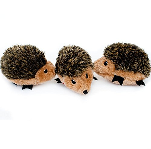 ZippyPaws - Woodland Friends Burrow, Interactive Squeaky Hide and Seek Plush Dog Toy - Hedgehog Miniz, 3 Pack (Best Toys For Hedgehogs)