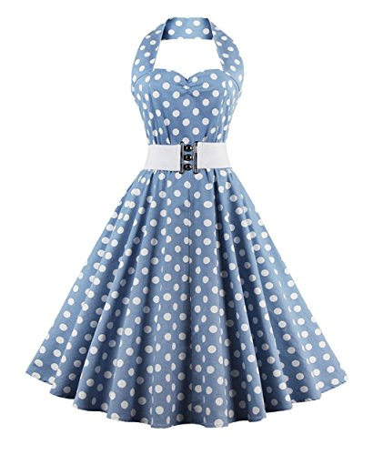 Polka Dot Pinup Dress (ZAFUL Women's 50s Vintage Polka Dots Halter Swing Dress Party Gown with Belt (L, Polka Dots-Light Grey and White))