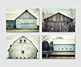 Rustic Farmhouse Decor Discounted Set of 4 Unframed 5x7'' Aqua and Teal Barn Prints, Fixer Upper Home Decor Wall Art Gifts for Women.