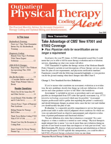 Outpatient Physical Therapy Coding Alert PDF