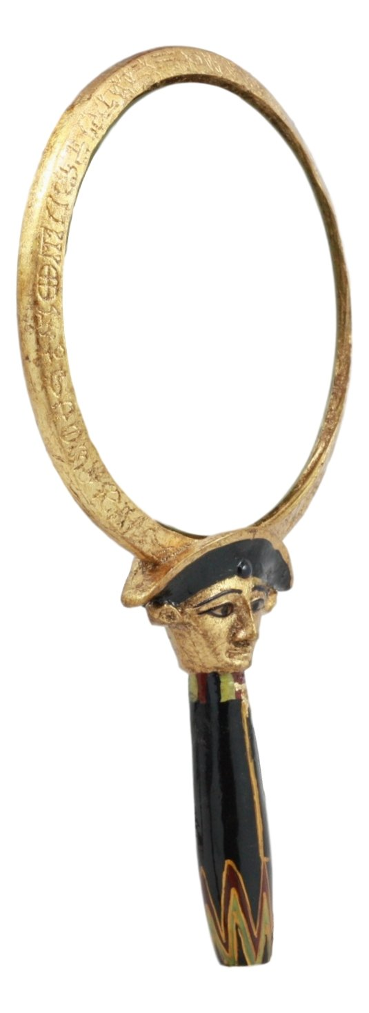 Ebros Ancient Egyptian Symbol of Protection Aegis Hand Mirror Figurine Collectible Winged Scarab Aegis Divine Talisman Charm Ebros Gift