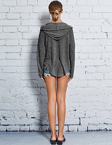 Ezcosplay Women Deep V Neck Solid Pullover Drawstring Loose Sweatshirt Hoodies (XXL, Dark Grey) by Ezcosplay (Image #4)
