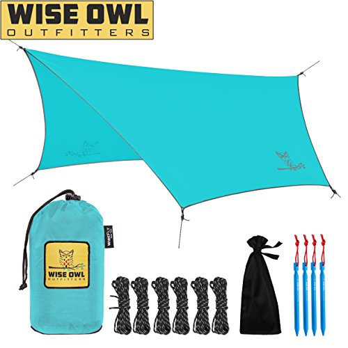 Wise Owl Outfitters Rain Fly Tarp – The WiseFly by Premium 11 x 9 ft Waterproof Camping Shelter Canopy – Lightweight Easy Setup for Hammock or Tent Camp Gear – 5 Colors
