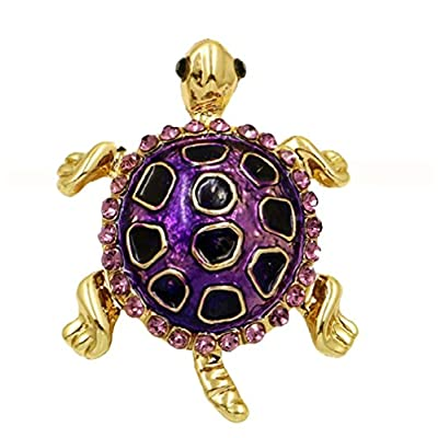 Nice TURTLE BROOCH Pin is Purple Enamel & Lavender Crystal Rhinestones.Perfect Gift for a a Turtle Enthusiast!