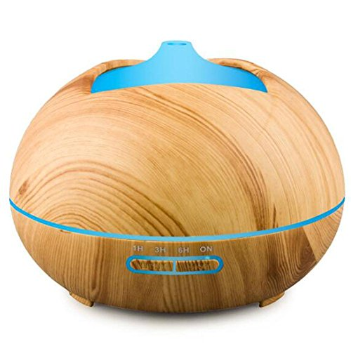 Aroma Diffuser JY-182 Ultrasonic Mute Humidifier Aromatherapy Indoor Air Purification LED Color Night Light Waterless Shut Down Timer Mode Home Office 400ml , Wood grain by JIAYEU