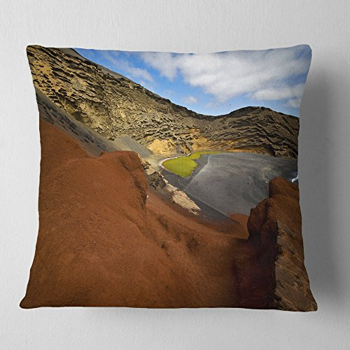 Designart CU10741-16-16 in El Golfo Lanzarote Spain Musk Pond' Seashore Throw Cushion Pillow Cover for Living Room, Sofa, 16 in. x 16 in, Pillow Insert + Cushion Cover Printed on Both Side by Designart