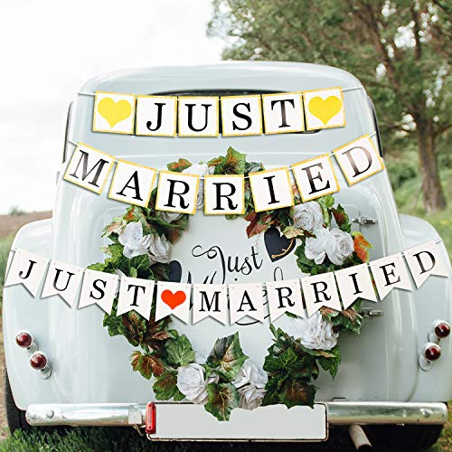 (Tatuo 2 Sets Just Married Wedding Banners Bunting Garland Photo Props Signs with Heart for Bridal Shower Wedding Party Decoration)