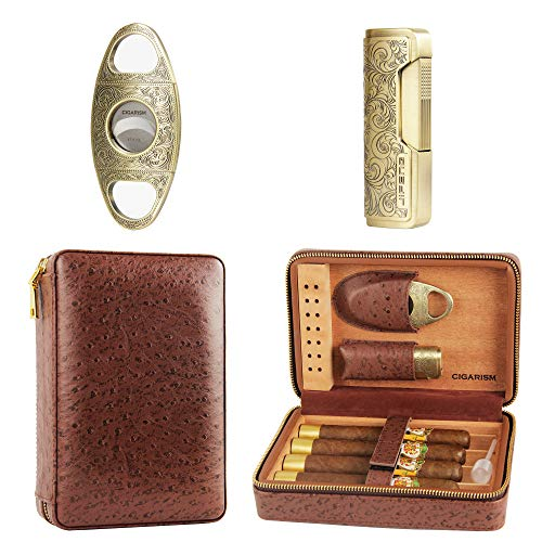 CIGARISM Genuine Leather Spanish Cedar Lined Cigar Travel Case Humidor W/Cutter Lighter Set 4 Count (Ostrich) Cigars Outdoor Travel Humidor