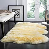 Safavieh Sheepskin Collection SHS121H Genuine Sheepskin Pelt Champagne Premium Shag Rug (3′ x 5′) Review