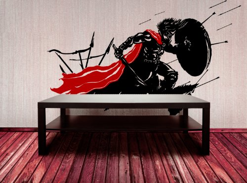 Spartan in Battle Roman Empire Wall Decal Sticker - Black with Red Cape, Large size. 60