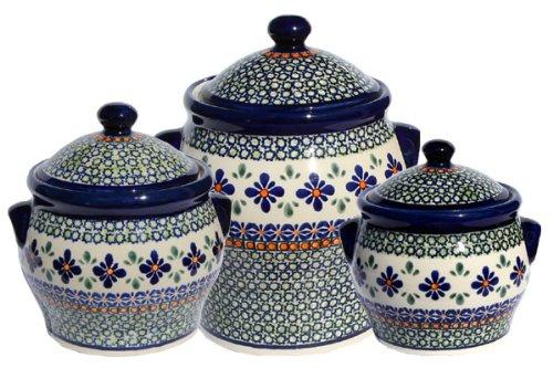 Polish Pottery Canister Set Zaklady Ceramiczne Boleslawiec 1096-du60 (Pottery Canister Set)