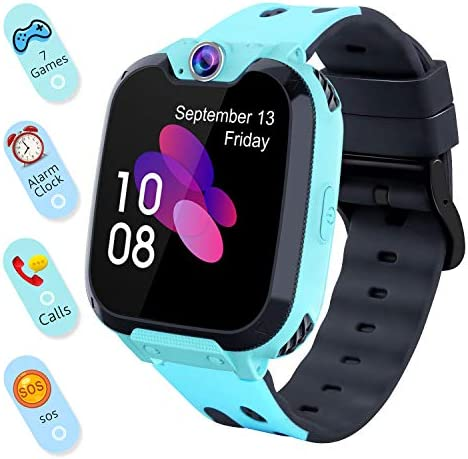 Smart Watch for Kids Boys Girls – Touch Screen Game Smartwatch with Call SOS Camera 7 Games Alarm Clock Music Player Record for Children Birthday Gifts 3-10 Kids Phone Watch with 1GB SD Card Blue