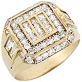 14k Solid Yellow Gold Large Buckle Cluster Stylish Mens Ring