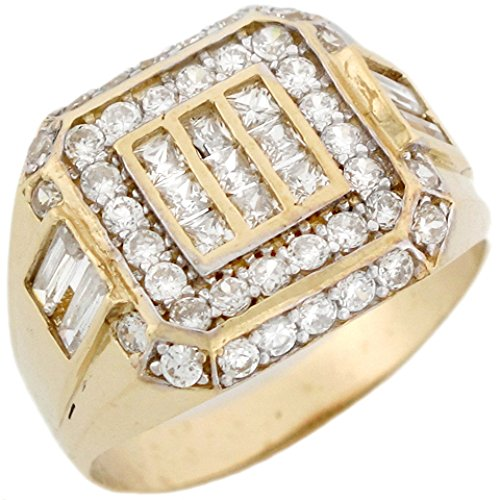 14k Solid Yellow Gold Large Buckle Cluster Stylish Mens Ring by Jewelry Liquidation